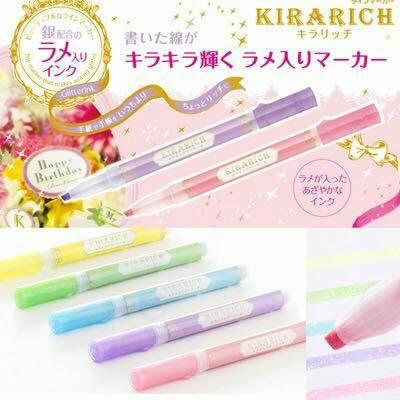 Japan ZEBRA Highlighter Pen WKS18 KIRARICH Shiny Pearl Pen Glitter color Holder Pen Set Stationery
