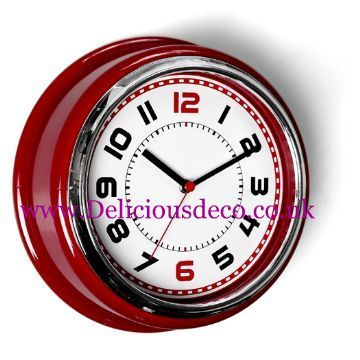 Red Bakelike 50's American Diner Retro Wall Clock