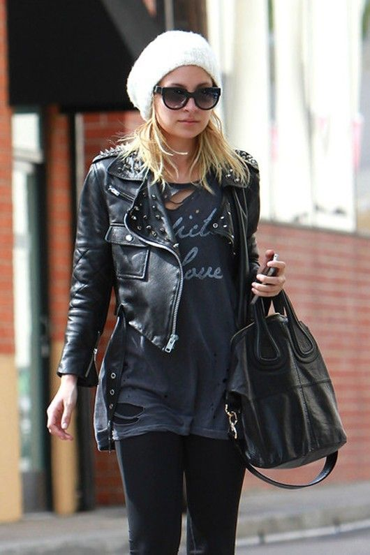 cropped leather jacket & baggy t shirt - nicole ritchie, my petite fashion icon.