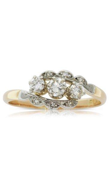 Vintage 18ct rose gold & platinum diamond ring