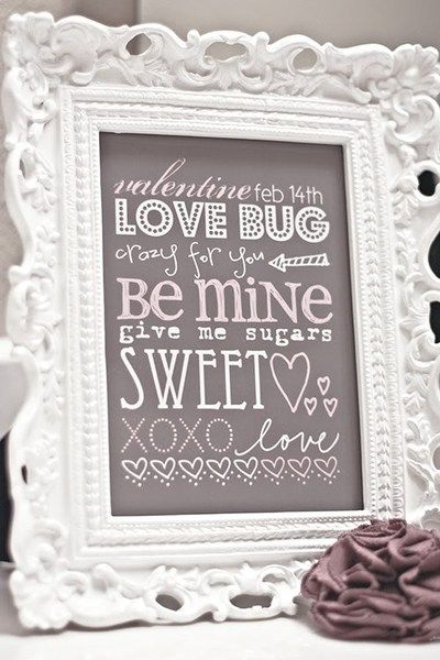 Valentine's Day free printable in frame, in many sizes