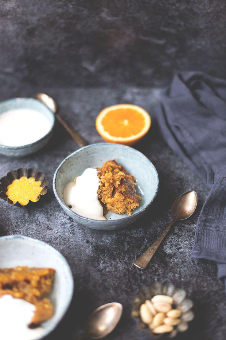 Rezept für süßen Orangen-Polenta-Auflauf mit Crème fraîche   moeyskitchen.com