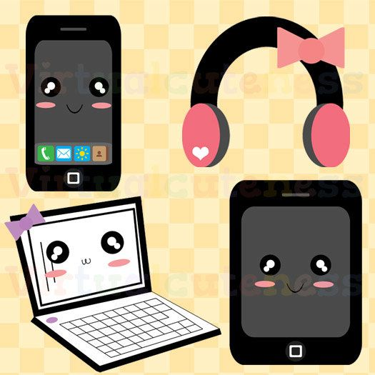 Technology Clip Art - Phone Clipart, Laptop, Headphones, Tablet, Modern, Kawaii Clip Art, Chibi, Cute, Fun, Free Commercial and Personal Use