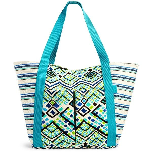 Vera Bradley Canvas Beach Tote (970 ZAR) ❤ liked on Polyvore featuring bags, handbags, tote bags, rain forest, canvas beach tote bag, white tote, beach bag, white canvas tote and beach tote bags