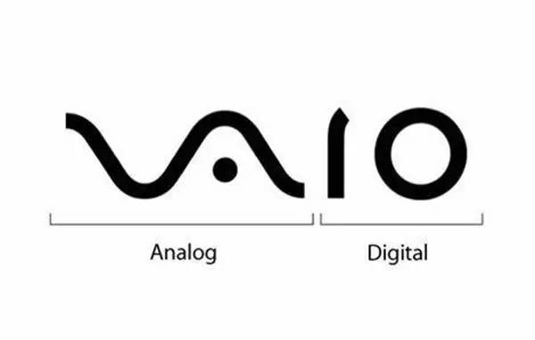VAIO(索尼)    VAIO 的 VA 這兩個字母圖形,是依照類比訊號(Analog signal)設計的,而 IO 這兩的字母的圖形則代表數位訊號的 1 和 0 這兩個數字。所以這個 logo 代表了從類比變成數位的科技進化。