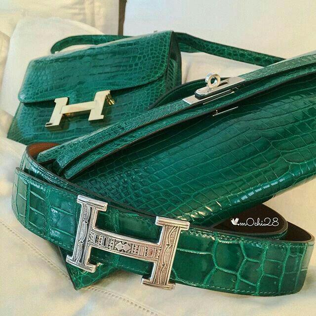 Hermes green crocodile belt - Touareg buckle , Kelly clutch longue constance bag