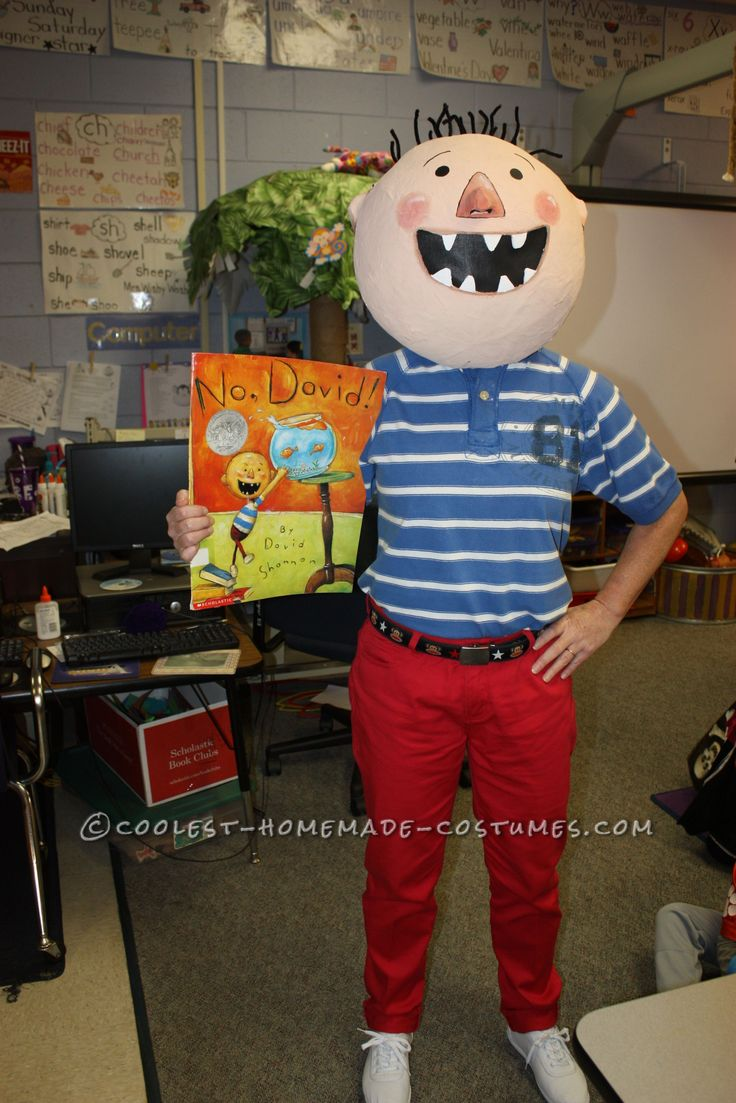 """Fun DIY Costume by a Kindergarten Teacher: David from """"No, David!"""" Children's Book… Enter the Coolest Homemade Costume Contest at http://ideas.coolest-homemade-costumes.com/submit/"""