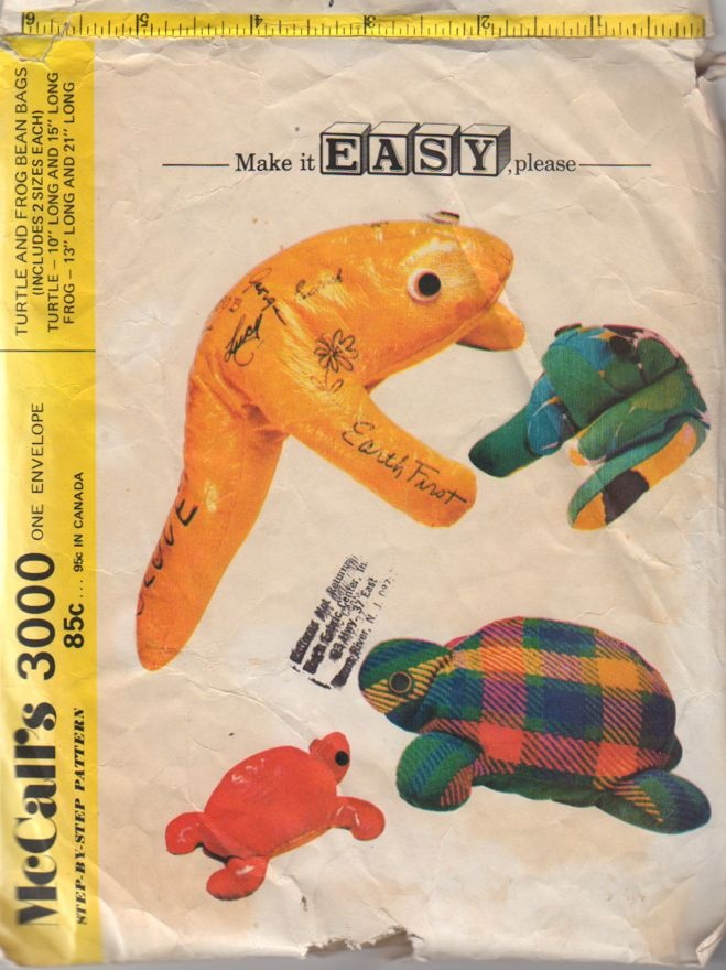 1970s Autograph Turtle And Frog Bean Bags Pattern Two Sizes McCalls 3000 Vintage 70s Sewing
