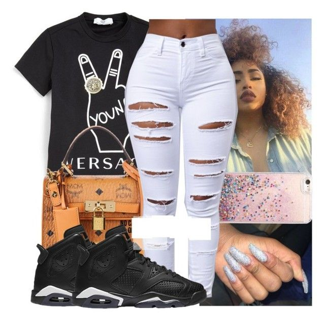 """."" by kodakdej ❤ liked on Polyvore featuring Versace and MCM"
