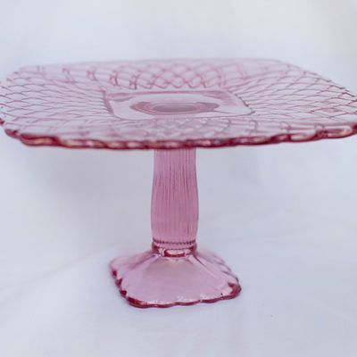 8  Square Pink Glass Cake Stand & 164 best Artistic Cake Stands images on Pinterest   Cake wedding ...