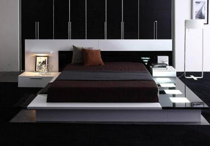 California King Bed N S Included Glossy White Black Vig Modrest