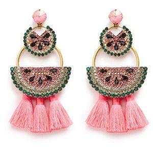 Elizabeth Cole 'Watermelon Chandeliers' Swarovski crystal tassel drop earrings