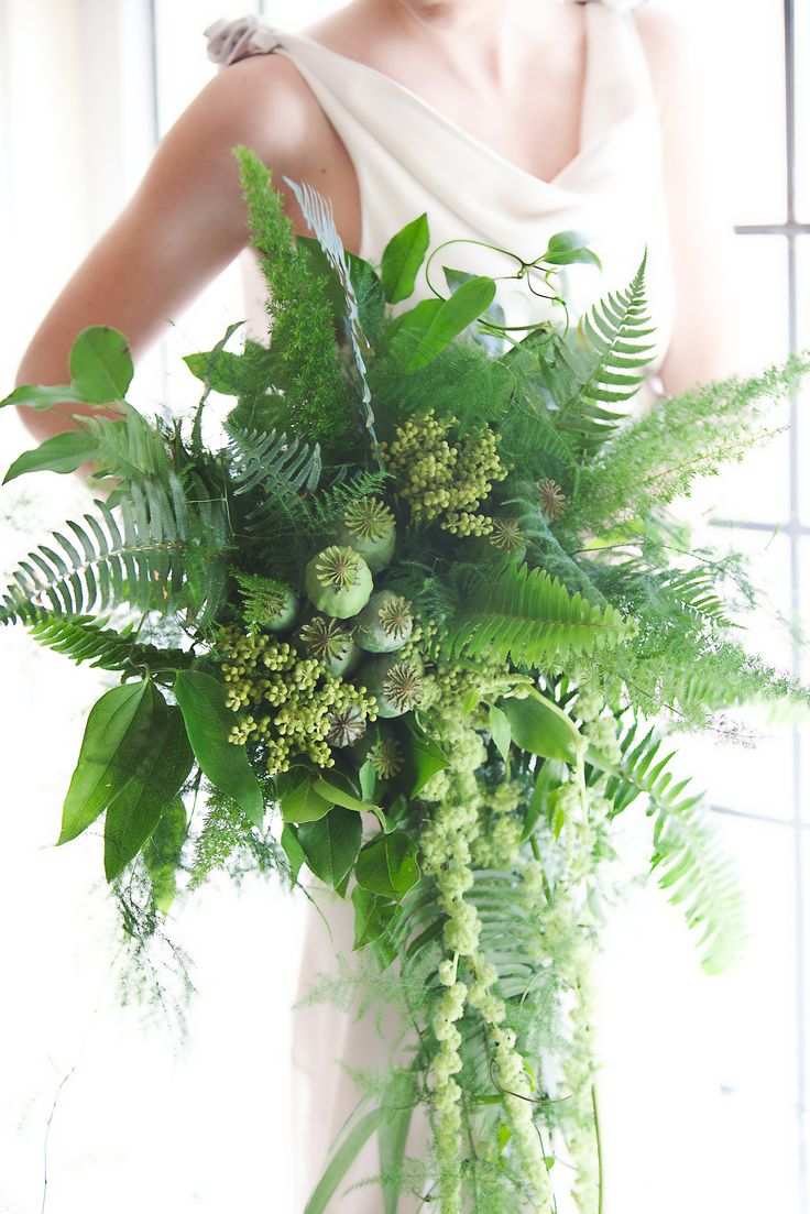 "Gorgeous ""All Green"" Wedding Bouquet: Green Amaranthus, Green Poppy Pods, Green China Berry, Several Varieties Of Fern & Greenery + Foliage"