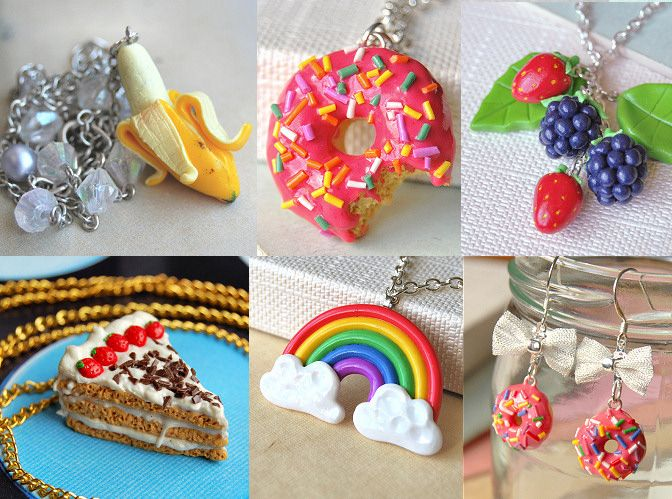 mini food jewelry made out of polymer clay