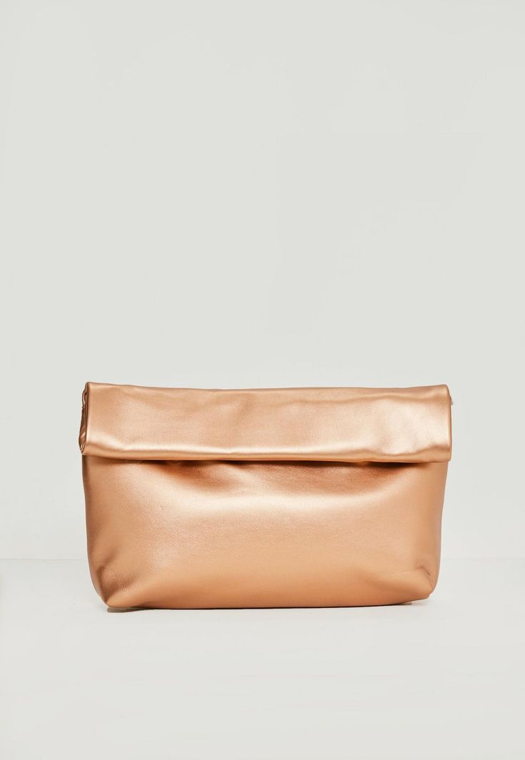 Missguided - Rose Gold Roll Top Clutch Bag