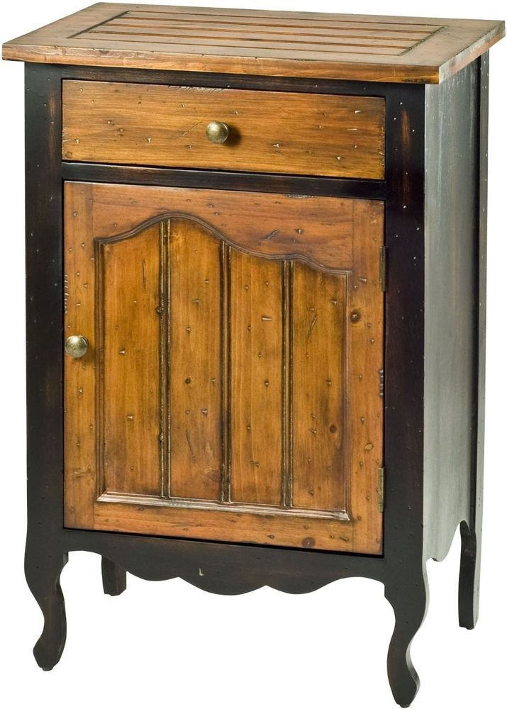 Rustic Black Walnut Cabinet Wood Living Room Storage French Door Country Home
