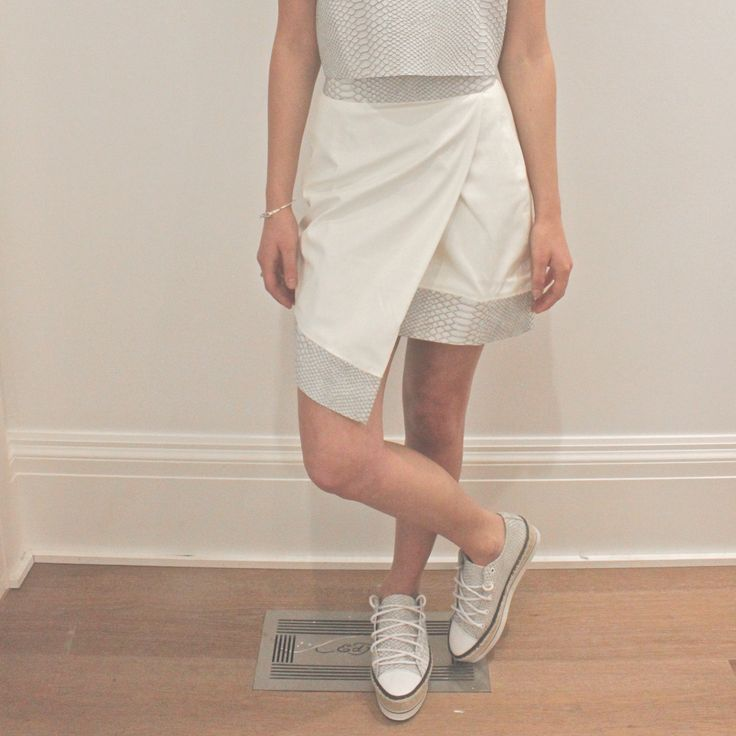 It's a white python moment!   Shop our 'Block Party Envelope Skirt White' in stores and online now: www.shakuhachi.net  #shakuhachi