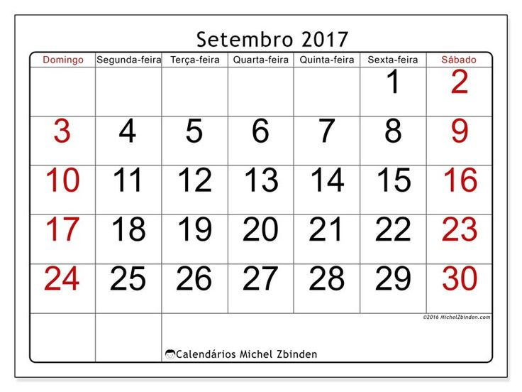 Livre! Calendários para setembro 2017 para imprimir