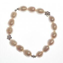Pearl and Silver Flower Elastic Bracelet #silver #jewellery #modern #bride