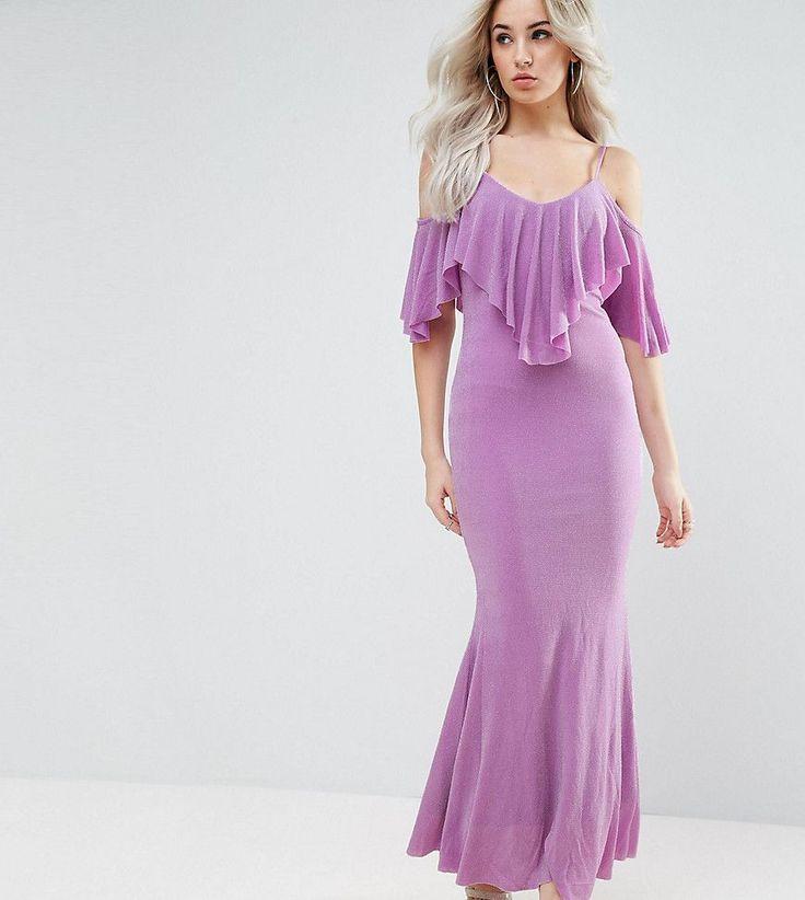City Goddess Petite Maxi Dress With Frill Detail - Purple