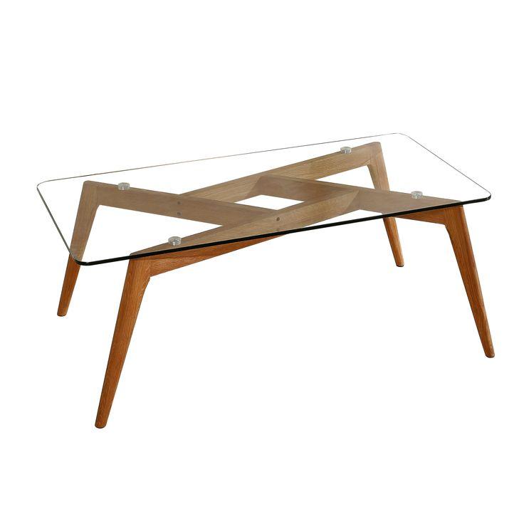 Table basse rectangulaire en verre et piétement en bois Longueur 120 cm BEGONIA port offert