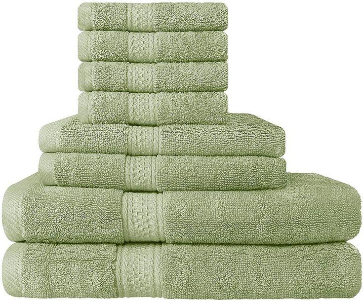 8 Piece Sage Green Towel Set Bathroom Bridal Idea Utopia Towels Free Shipping