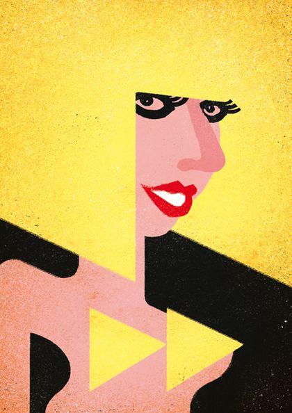 Lady Gaga by Davide Bonazzi, 2013 editorial, stylized, magazine,illustration, http://wvw.salzint.com/davide-bonazzi.html