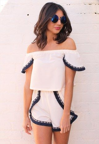 CREAM FRINGED BARDOT OFF THE SHOULDER TOP & SHORTS CO-ORD