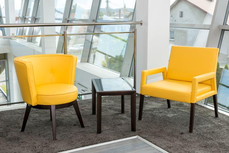 Beauty in yellow - modern armchairs from Klose #naturalleather #modernarmchair #KloseFurniture