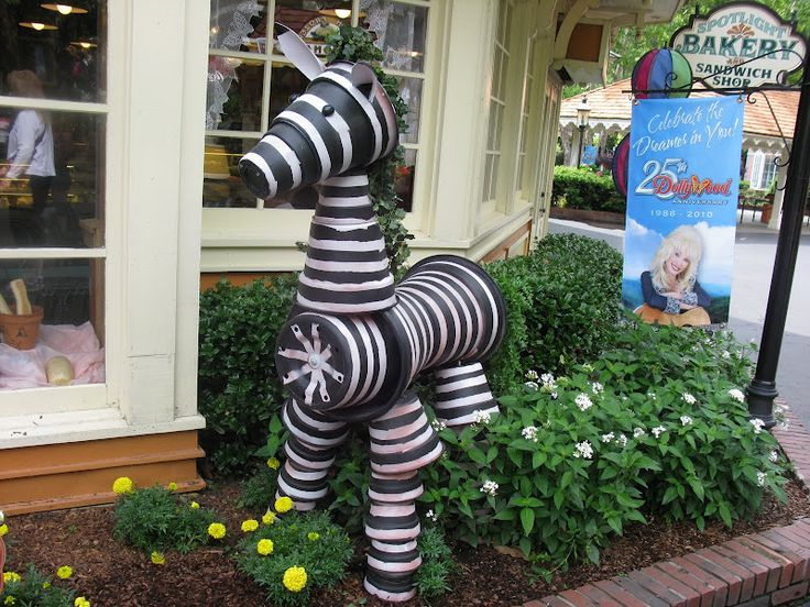 made from plastic flower pots!  These are at Dollywood.