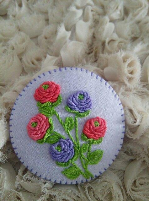 I  bullion stitch hand embroidery #brooch #handmade