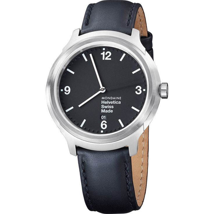 Mondaine Helvetica No1 Bold 43 Black Watch | Black Leather