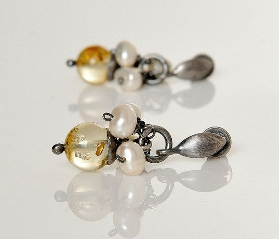 Amber Dangle Earrings Citrine Amber Whites Beads by AnnaBujak