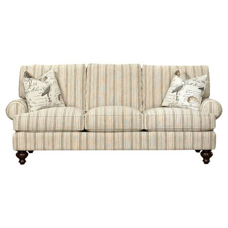 Add A Touch Of Visual Interest To Your Living Room Seating Group Or Den Decor With This Lovely Sofa Showcasing Neutral Striped Upholstery And Bun Feet