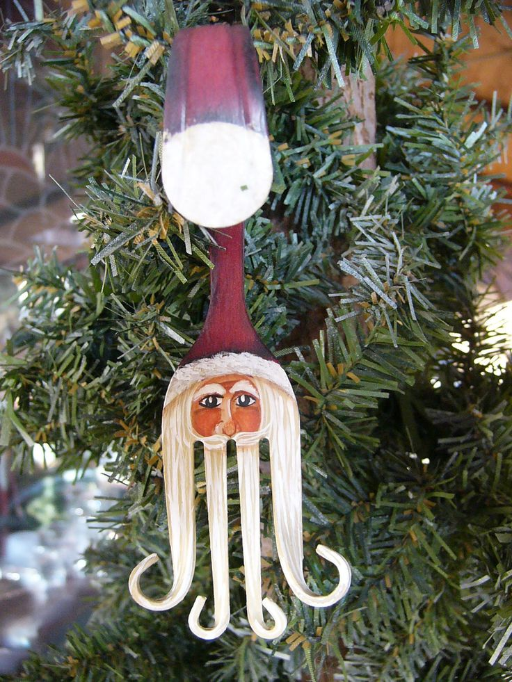 Fork Santa Claus Painted Christmas Ornament.