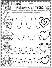 Robot Valentines Line Tracing Worksheets for Preschool