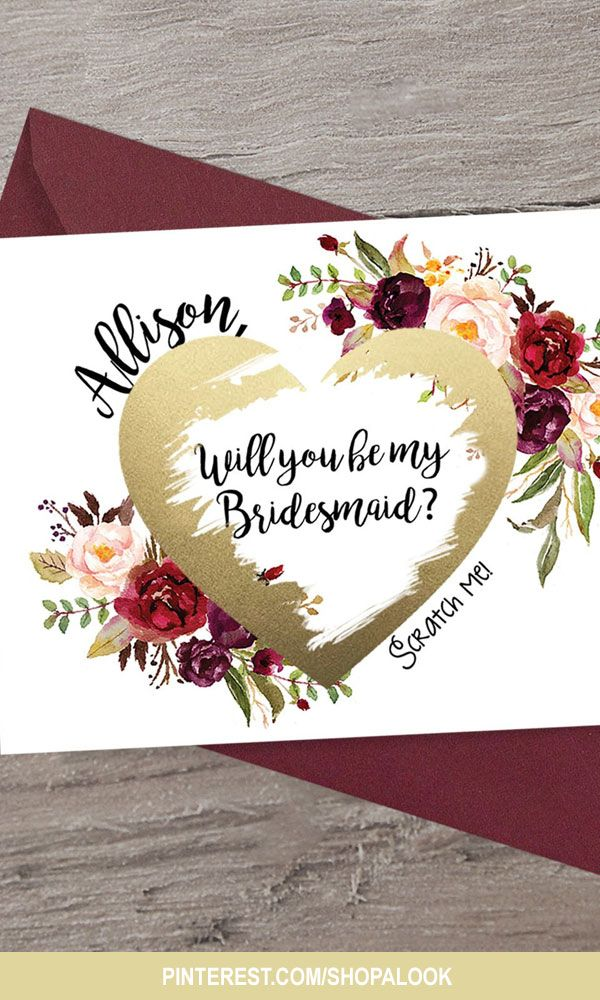 Scratch Off Bridesmaid Proposal Card Bridesmaid invitation Maid of Honor Ask Bridal Party Bridesmaid Ask Card Personalized Burgundy Floral Card