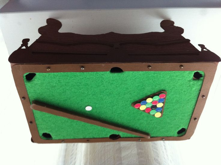 Pool table box- I used felt for the top!! #svgcuts