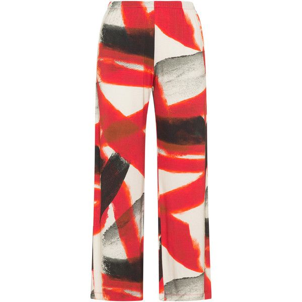 Yoona Red / Multicolour Plus Size Printed wide leg jersey trousers ($145) ❤ liked on Polyvore featuring pants, plus size, red, wide-leg trousers, long wide leg pants, womens plus pants, womens plus size pants and colorful pants