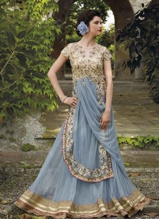 Graceful Grey Embroidery Work Georgette Net Bridal Gown