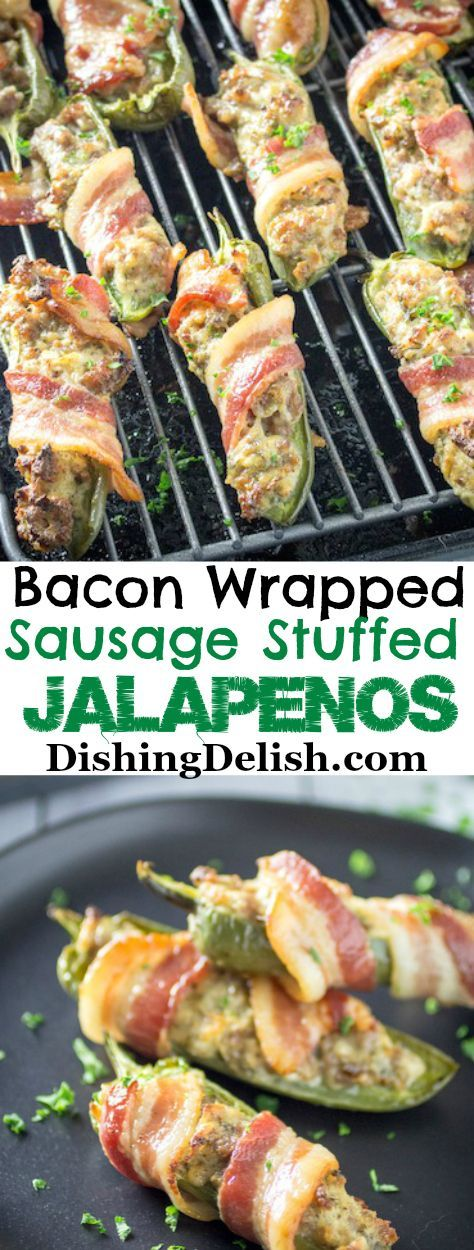 Bacon Wrapped Sausage Stuffed Jalapenos are an easy appetizer. Great for the big game. #appetizer #glutenfree #Jalapenos
