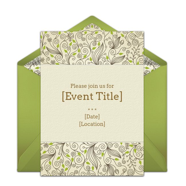 Customizable Garden Leaves online invitations. Easy to personalize and send for a party. #punchbowl