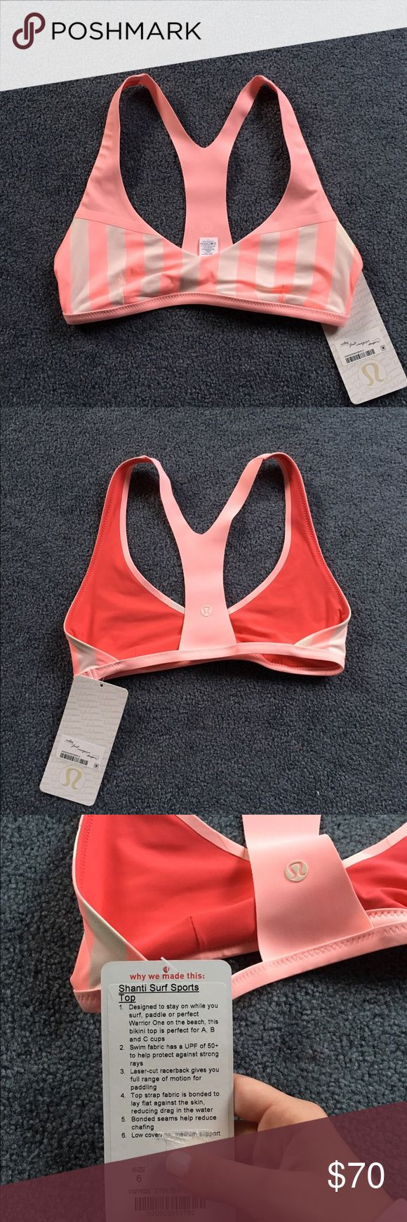 "Lululemon Shanti Surf bikini top NWT size 6 * RARE Lululemon ""Shanti Surf Sports Top"" bikini top size 6. new with tags. Sold out in stores & online  * Check out the rest of my closet for more Lululemon bikinis!  * Also listed for cheaper on my Ⓜ️ercari account lululemon athletica Swim Bikinis"