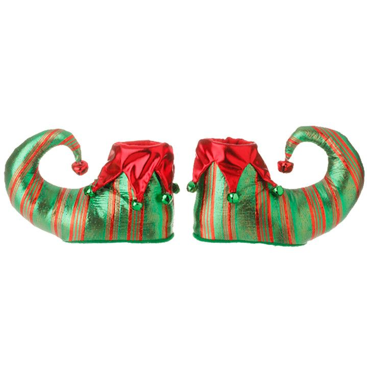 "RAZ Imports ELF SHOES (RAZ Exclusive) 8"" ELF SHOE ORNAMENT - Pair - Made of Polyester - Measures 8"" X 5"" - Theme: Merry! Merry! Merry!"