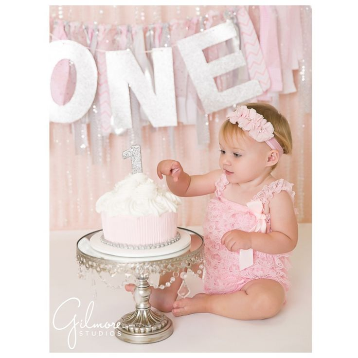 Orange County, baby, girl, photographer, Gilmore Studios, birthday, cake smash, session, pink, silver, prop, background, photo, Frenchs cupcake bakery, first birthday, pink and white cake, turning one, happy, photography shoot GilmoreStudios.com