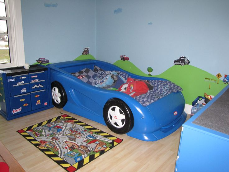 Boys Race Car Themed Room. Twin Size Little Tikes Car Bed And Chest. Cars