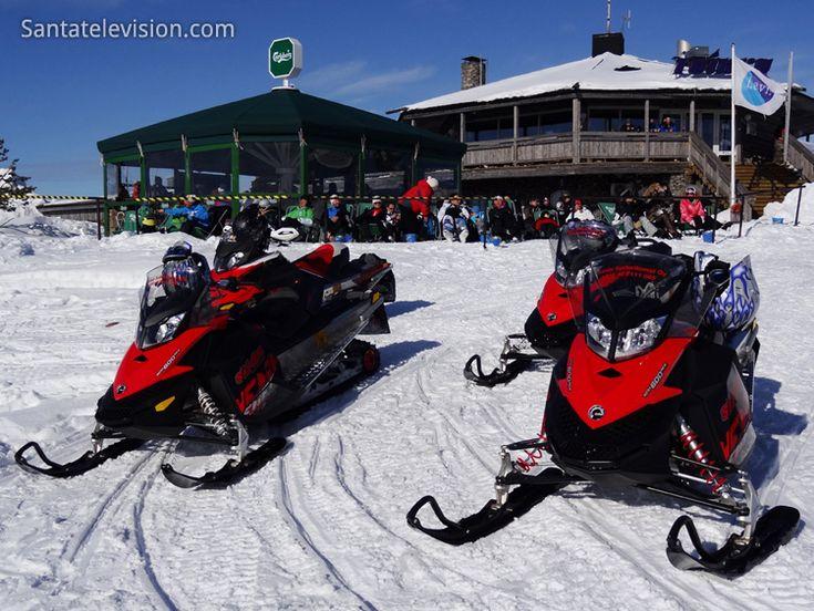 Snowmobiles and Restaurant Tuikku in Levi in Lapland