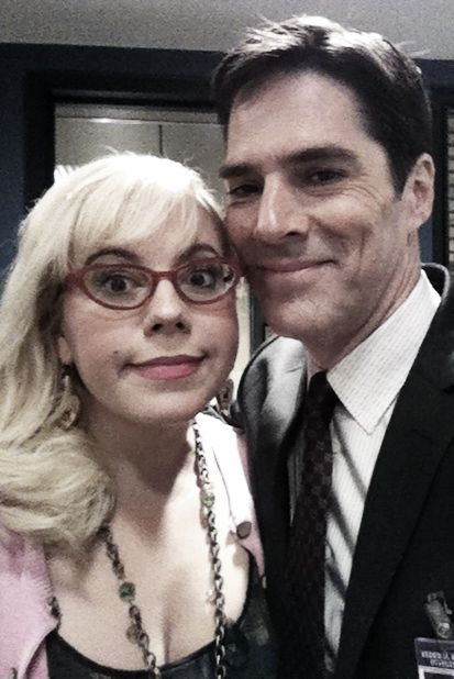 Thomas Gibson and Kirsten Vangsness on the set of Criminal Minds.