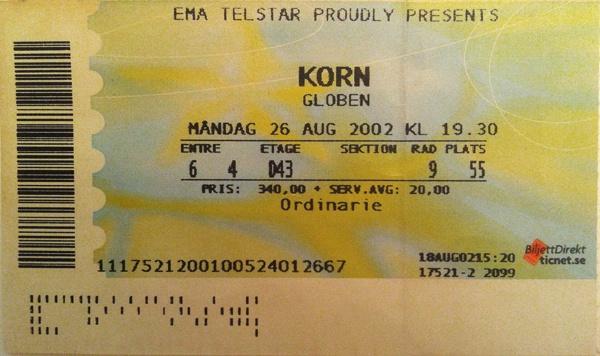 KORN – August 26th 2002, Stockholm, Globe Arena