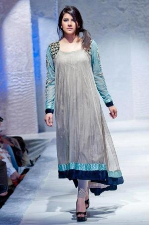 Grey/Turquoise Embroidered Anarkali Party Dress